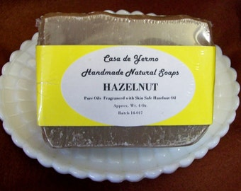 Great Hazelnut Scented Bar made with only Pure Olive, Palm and Coconut Oils and Skin Safe Fragrances. (Use Coupon Code CDY18)