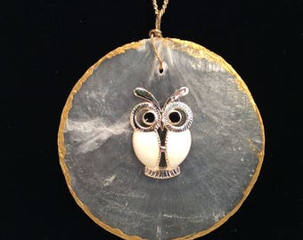 Owl on Shell Necklace