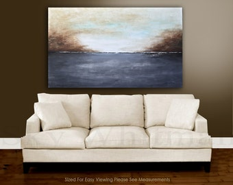 Original painting modern large artwork gray and sand modern abstract oil painting landscape wall art ready to hang by Sky Whitman
