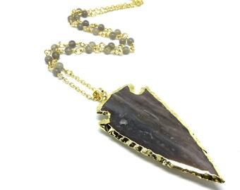 Arrow head necklace, labradorite necklace, labradorite arrow, arrow necklace, labradorite jewelry, labradorite pendant, arrow head