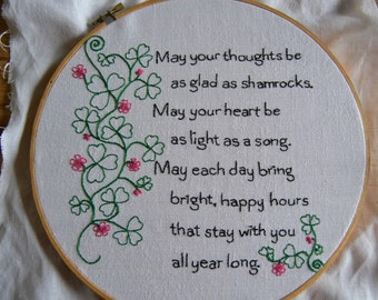 Shamrock Embroidery Pattern, Irish Proverb Hand Embroidery Pattern, St. Patrick's Day Pattern. St. Patrick's Hand Embroidery Pattern