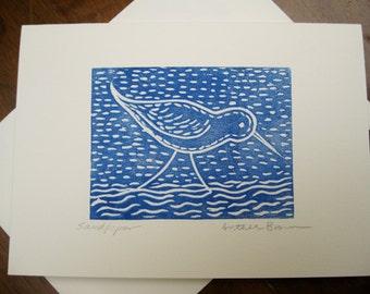 Sandpiper, linocut card, printmaking