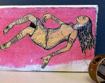 Lisbon graffiti print on wood