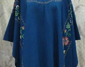 Vintage 1960s Royal Blue Embroidered Wool Shawl, Embroidered Poncho, Boho Poncho