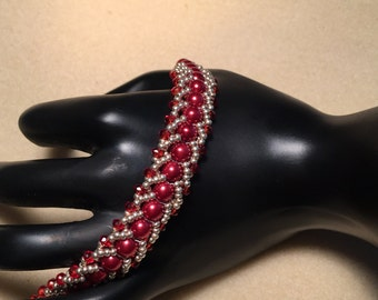 Red and Silver Flat Spiral Beaded Bracelet