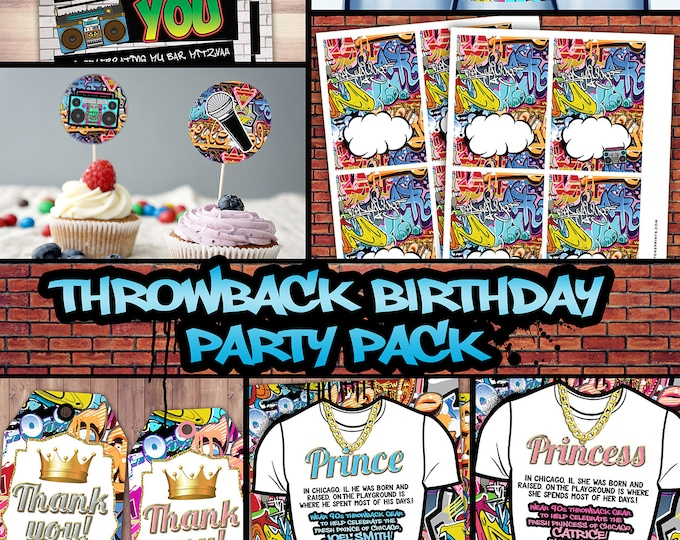Fresh Prince, Birthday, Baby shower, Hip Hop, 90s throwback party, birthday invitation, Graffiti, cupcake topper, food tent, digital files