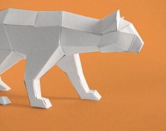 Sculpture en papier panthère à monter