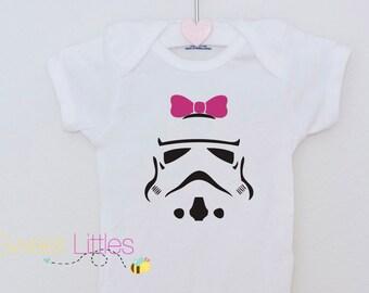 Star Wars Inspired Onesies/Storm Trooper/Baby Girl/Star Wars Fanatic/Geek/Nerd/Cute/The Dark Side/Birthday Gift/Fan apparel/Movie/Classic