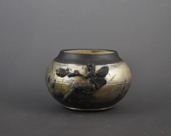 Raku Pottery Decorative Vase with Sprigged and Carved Fairy in Copper Matt Glaze R37