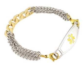 Women's Medical ID Bracelet Camille Two-Tone Chain