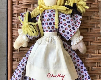 Vintage Becky Thatcher souvenir rag doll, Hannibal, Missouri - handmade, 1960s