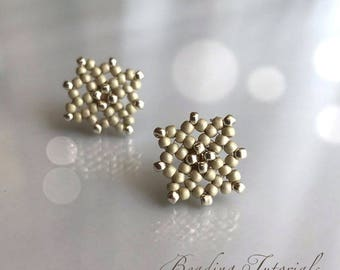 Beading tutorial Lacy square stud earrings, Easy DIY tutorial, beading pattern