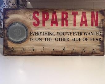 Spartan Trifecta Medal Hanger Sign •Country•Rustic Distressed•Wall Art Display•Holder•Home Decor•Marathon•Run•Bike•Swim•Triathlon