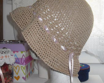 Hat summer crochet color rope