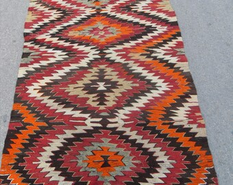 free shipping VINTAGE TURKİSH mut kilim Anatolian handwoven kilim rug decorative kilim - SİZE : 44'' X 90'' ( 110 cm X 225 cm)