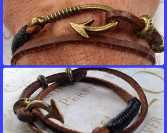 Free, Adjustable, Anchor Bracelet, Fish Hook Bracelet, Leather Bracelet, Mens Jewerly, Nautical Bracelet