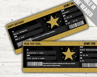 Surprise Concert Ticket (Concert Ticket Gift). Editable. Printable. Instant Download.