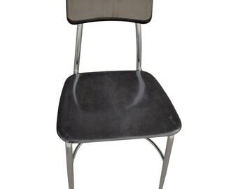 Midcentury Glossy Black Fiberglass School Chairs