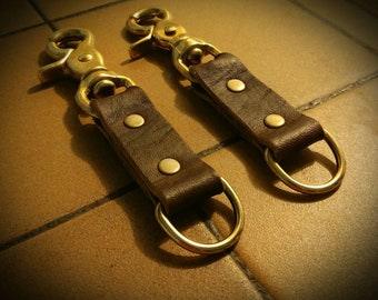 Solid Brass Leather Key Fob