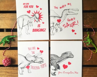 Dinosaurs Valentine Set of Cards. Nerdy Valentines. Funny Dinosaur Cards. Science Puns. Gift for Him for Her. Cute Card Set. Dinosaur Love.