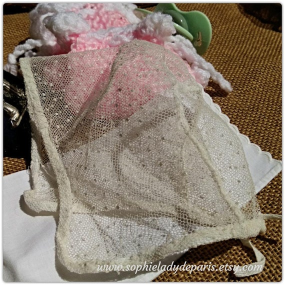 Victorian White Tulle Embroidered Baby Hat French Cotton Polka Dots Bonnet Small Newborn or Doll Bonnet Collectible #sophieladydeparis