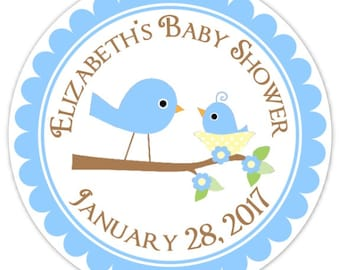 Blue Baby Birds Baby Shower Labels, Custom Baby Shower Stickers - Personalized for YOU
