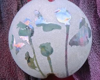 "Handmade Lampwork Focal Bead ""Butterflies in the Poppies II"" SRA Sandblasted Glass ~ Iridescent Lustre Picture Bead ~ Cool Neutrals"