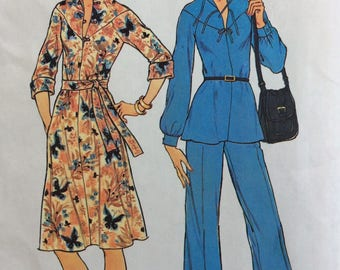 Simplicity 7263 misses dress or top and pants size 14 bust 36 vintage 1970's sewing pattern