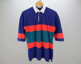 Energie Shirt Vintage Energie Polo Shirt Stripes Three Quarter Sleeves Men's Size S