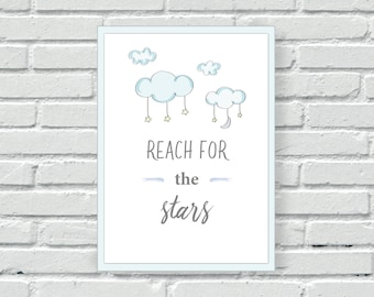 Boys nursery wall print, Reach for the Stars wall decor, wall art, watercolour, gift, baby shower, children's, child, nursery, home decor