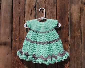 Crochet Baby Dress Aqua and Dark Grey Size 6 months Ready-To-Ship