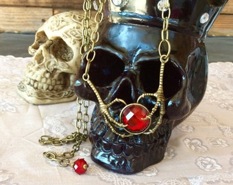 Ruby Talon Necklace-Medieval Necklace-Talon Claw Necklace-Crows Necklace-Gothic Ruby Jewelry-Renaissant Necklace-Ruby Jewelry