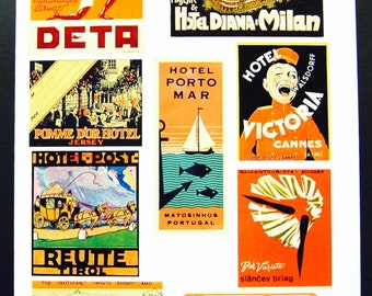 Vintage Luggage Label Images Paper, on Card Stock 8.5 X 11 Sheet O-3. NOT Digital.