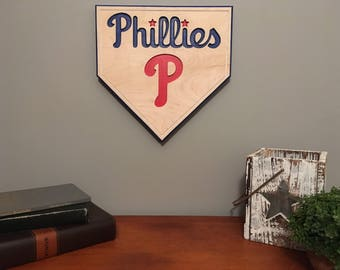 Baseball Sign-Philadelphia Phillies-Engraved-Sports Sign-Philadelphia-Phillies Baseball Sign-Homeplate