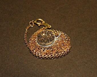 Dainty druzy necklace, gold druzy necklace, sterling silver circle necklace, gold druzy pendant, gold small circle pendant, gold rolo chain