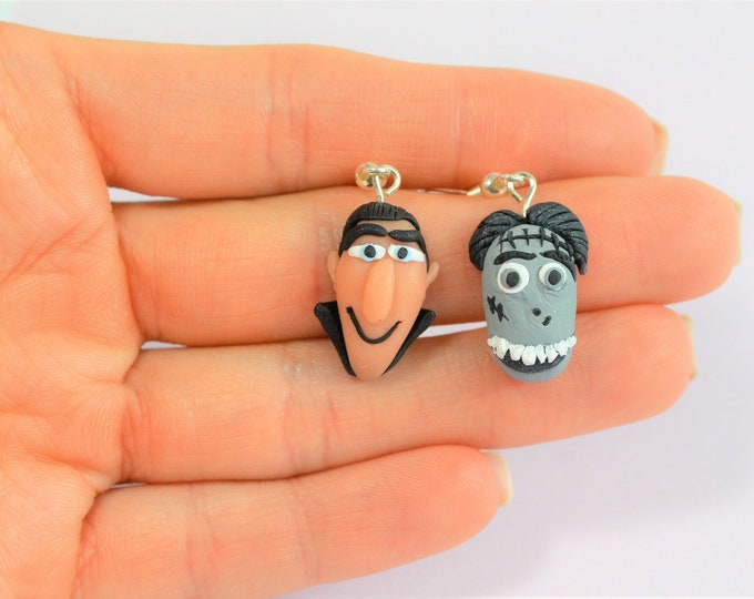 Hotel Transylvania 3 - Polymer clay earrings - Hotel Transylvania party - Dracula earrings - Frankenstain earrings - Polymer clay jewellery