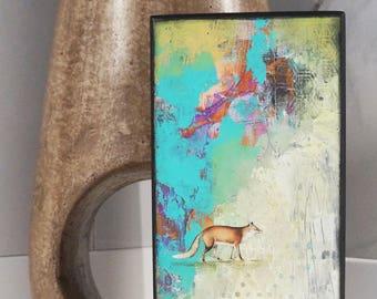 Fox Painting- Abstract Painting Original, Original Artwork on Wood, Modern Woodland Art