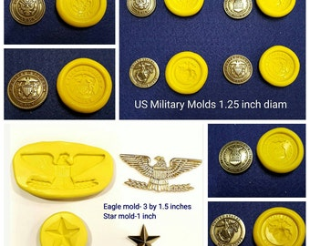 Set of 6 US Military Silicone Molds - Army, Navy, Air Force, Marines