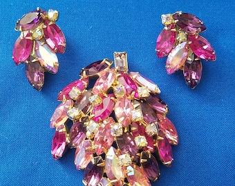 Pink rhinestone leaf brooch and clip earrings