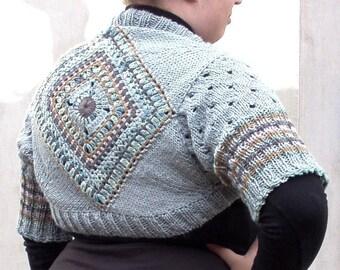 Knit sweater bolero shrug plus size freeform crochet wool jacket bohemian clothing Pale blue