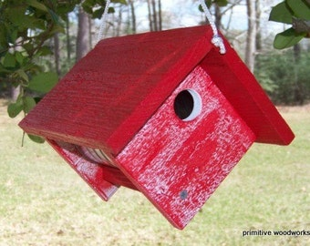 Wooden Birdhouse, Coffee Can Birdhouse, Primitive Rustic Bird House, Painted Recycled Weathered Rough Cedar, Painted Red Faux
