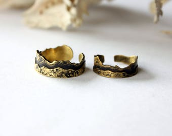 Adjustable Two Layer Mountain Ring Landscape Jewelry Brass Ring Gifts for Her Gifts for Him Gift for Nature Lover Woodland Primitive Jewelry