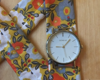 Shows fabric - yellow floral pattern