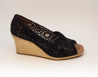 Sequin Black Peeptoe Canvas Weave Wedge Heels Shoes