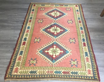 "4""9x7""8ft.oushak rug,Turkish rug,Trending Low Pile Vintage Turkish Oushak Rug,Rustic Decor Muted Colored Distressed Handmade Rug,Office Rug"