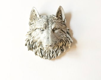 Faux Aged Small Wolf Head, Faux Taxidermy, Faux Animal Head, Small Faux Taxidermy, Faux Taxidermy wolf, Faux Aged Animal Head, Animal Wall