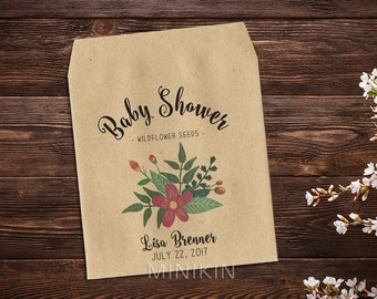 Baby Shower Favor, Seed Packet, Seed Favor, Baby Girl, Floral Pink, Party Favor, Seed Packet Favor, Baby Shower Girls x 25