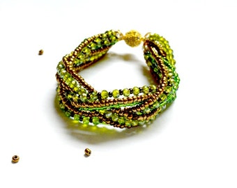 Green and Gold Plaited Bracelet