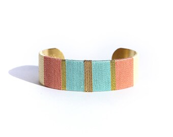 Cuff Bracelet LUCIEN - turquoise, coral, yellow and gold