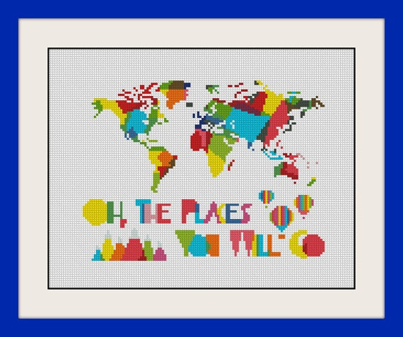 Oh the places youll go world map nursery artwork kids room inc youll go world map nursery artwork kids room inc cross stitch pattern bogo pdf counted cross stitch patternr033 de magicstitching en etsy studio gumiabroncs Image collections